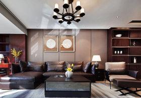 棕色中式沙发背景墙欣赏