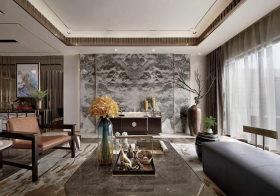 水墨中式客厅背景墙设计
