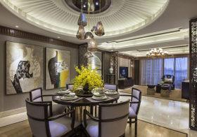 圆形新中式餐厅吊顶设计