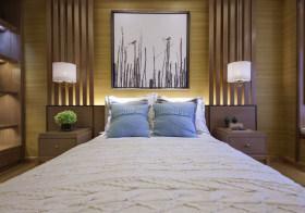 清新原木中式卧室背景墙欣赏