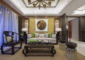 清新壁画中式沙发背景墙欣赏