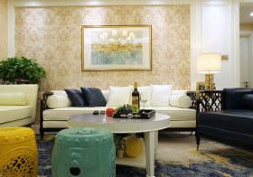 清新花纹美式沙发背景墙设计