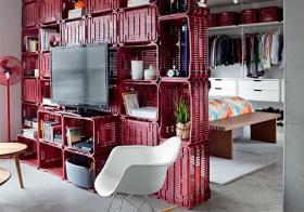 现代储物柜式隔断墙设计