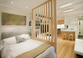 卧室清新木质隔断美图