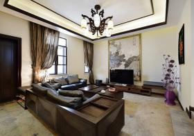 雅致新中式风格客厅装修效果