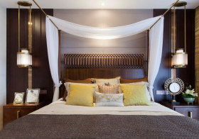 纱幔中式卧室背景墙欣赏