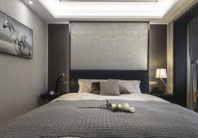 灰色沉稳现代卧室背景墙欣赏