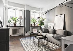 灰调北欧风格客厅装修设计
