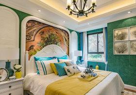 创意绿色田园卧室背景墙欣赏