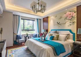 精美意境新中式卧室背景墙设计