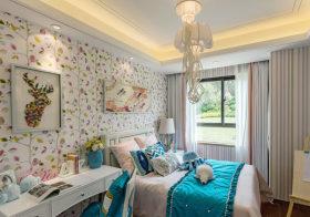 清爽现代卧室背景墙设计