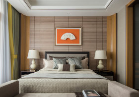 素净中式卧室背景墙设计