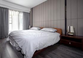 竖纹灰色现代卧室背景墙欣赏