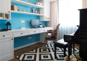 天蓝美式风书房设计