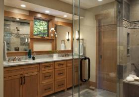 玻璃房美式浴室柜装修