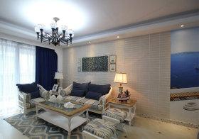 浅色地中海客厅背景墙欣赏