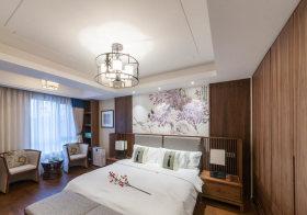 清新中式卧室背景墙美图