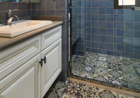 海蓝色美式浴室柜设计