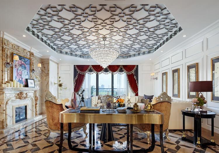 菱形雕花欧式客厅吊顶设计
