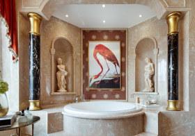 奢华欧式浴缸背景墙美图