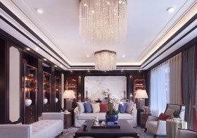 奢华水晶混搭客厅吊顶美图