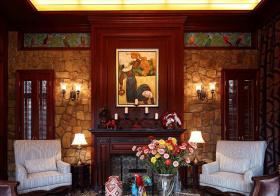 复古文化砖混搭客厅背景墙设计