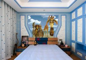 蓝色卡通现代儿童房设计