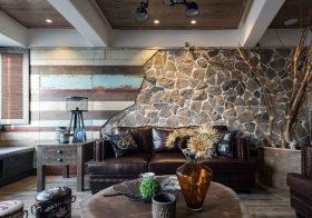 复古砖墙混搭风背景墙设计