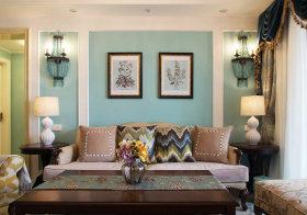 清新美式沙发背景墙美图