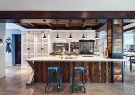 简洁美式厨房吧台效果图
