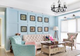 蓝色美式客厅照片墙设计