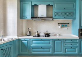 清爽蓝美式厨房设计图