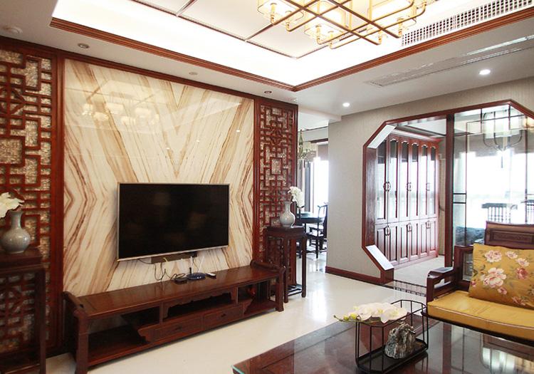 红木中式客厅电视墙装修