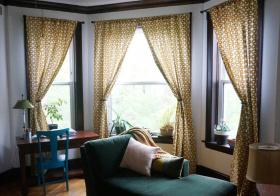 自然东南亚书房窗帘设计