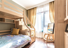 原木温馨日式儿童房设计