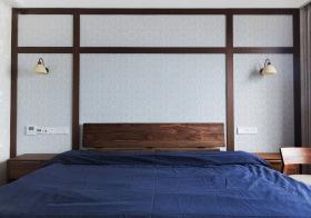 木制蓝色日式卧室设计