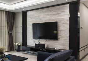 黑色现代客厅电视墙效果