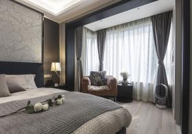 时尚灰现代卧室窗帘设计
