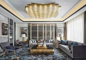 商务新中式客厅吊顶设计