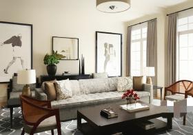 时尚黑灰现代客厅设计