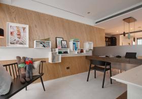 原木开放式简约书房设计