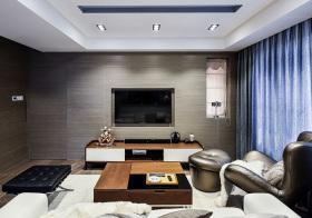 商务风现代客厅电视墙设计