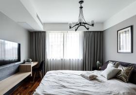 灰色简约卧室窗帘设计