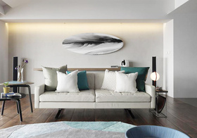 清新宜家客厅沙发墙效果图