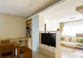 清新日式客厅电视隔断设计