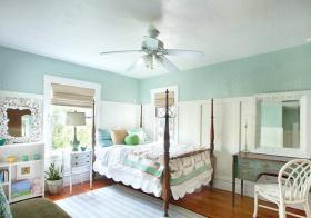 清爽复古美式卧室设计