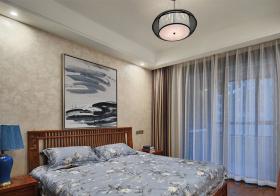 典雅新中式卧室窗帘设计