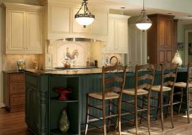 复古美式厨房吧台装修