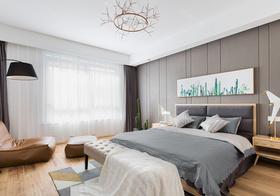 温馨北欧卧室窗帘设计