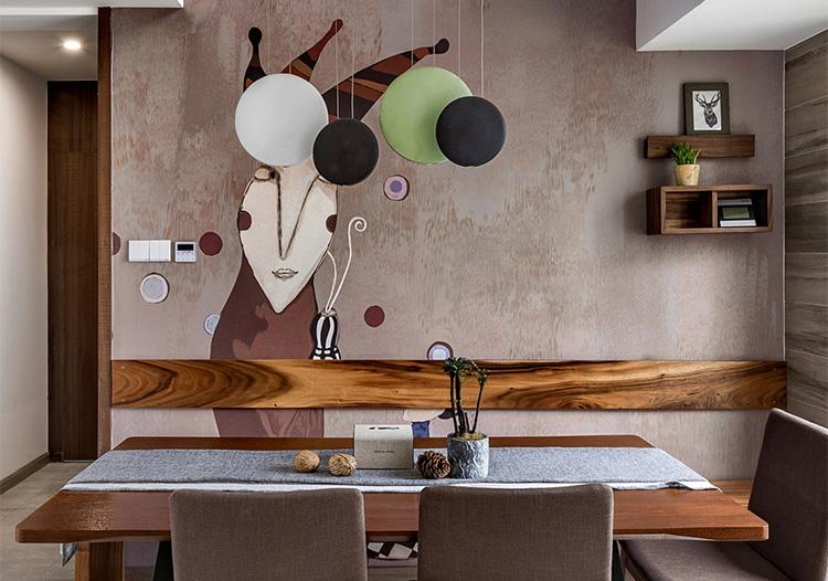 创意北欧餐厅背景墙设计图